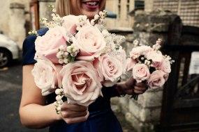 winter bridesmaids posies in palest pink