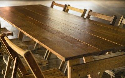 Our oak trestle tables