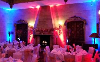 Gorgeous UpLighting inside wedding venue