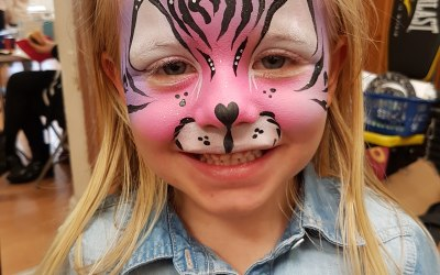 pink cat, face paint, bingley, bradford