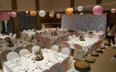 chair covers, table linen and starlight backdrop