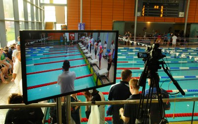Top quality AV for a swimming championship finals weekend