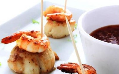 Scallops & king prawns spicy Sweet chillie sauce.