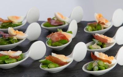 Sussex asparagus, quail eggs and crispy Parma ham canape