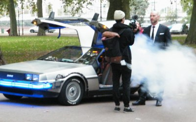 The BTTF Car Delorean Time Machine on set of the 8 Rocks charity fund raising film for Teenage Cancer Trust Gala Dinner in London 2014