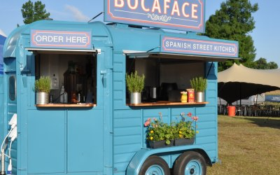Our beautifully restored horsebox kitchen.