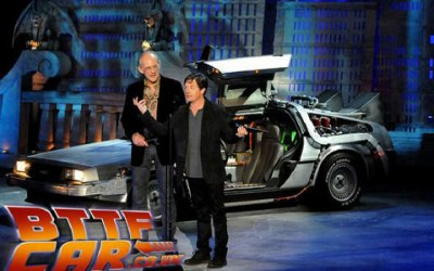The BTTF Car Delorean Time Machine appearing on stage with Michael J Fox & Christopher Lloyd in Hollywood 2010