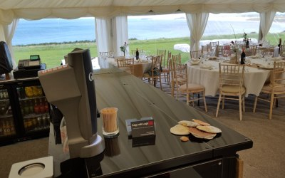 Fantastic views from the bar at this marquee wedding on the Cornish coast