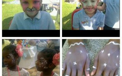 Hello kitty , swirls and butterflys face painting