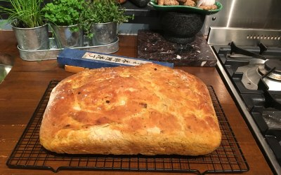 Freshly baked garlic and Rosemary focaccia bread