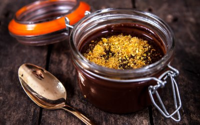 Chocolate, ornage and pistashio ganache