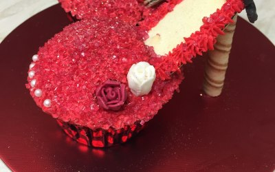 Red sparkling cupcake shoes
