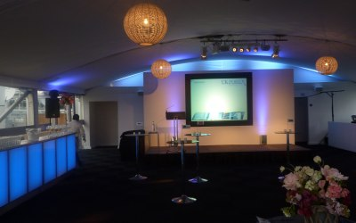 Awards presentation stage set in a Marquee