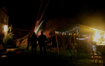The Igloo tent and pop up bar tent for a 50th party.