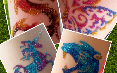 Assorted glitter tattoos and colours, transfers also available