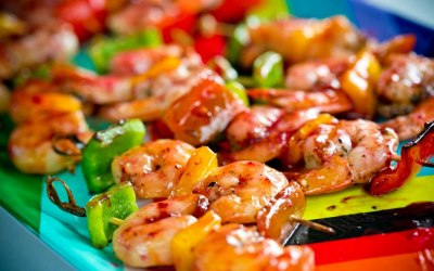 Jamaican Delights Skewered Prawns