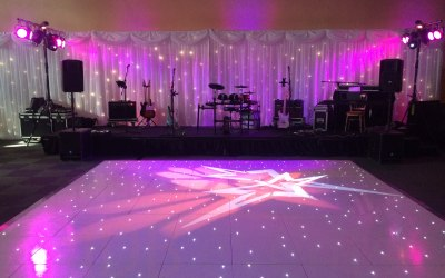 White Starlit Dance Floor, Draping, Lighting & Sound for a Wedding