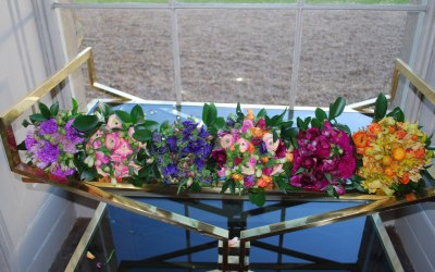 Bridesmaids bouquets at Aynho Park in Oxfordshire