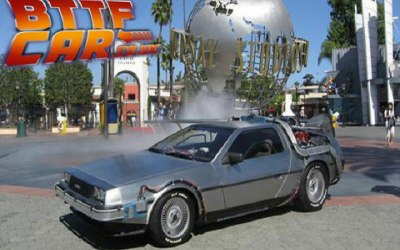 The BTTF Car Delorean Time Machine on display inside Universal Studios Hollywood Theme Park