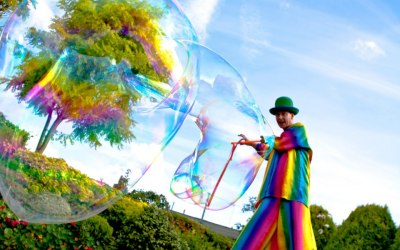 stilt walker giant bubbles