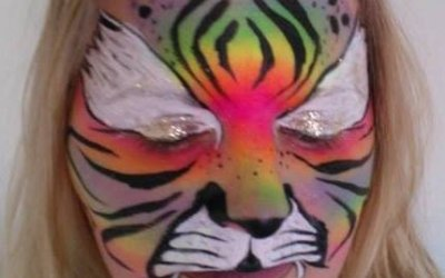 Get Doodled Newquay Face paint rainbow tiger