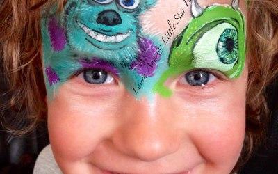 Monstersinc Mike sulley face paint disney littlestarfaces lauraAnn