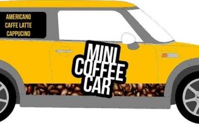 Mobile coffee bar, Mini Cooper coffee car, event coffee