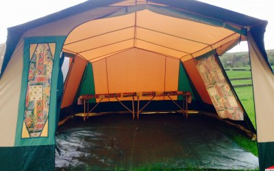 Vintage event tent with tables