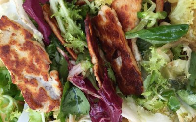 Grilled pine nuts & Halloumi salad dressed in sesame seed oil