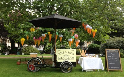 Cole & Sons ice cream tricycle set  up in Regents Park London