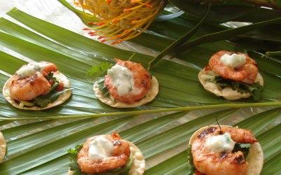 Tandoori prawn canapes with coriander salad