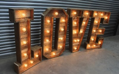 Rustic light-up love letters