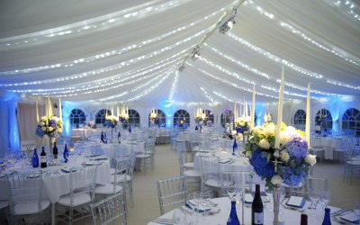 Wedding marquee with fairy lighting
