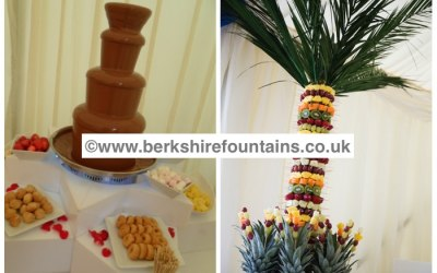 Chocolate Fountain and Fruit palm tree