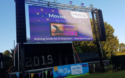 This is our outdoor cinema system with a rocking sound system.