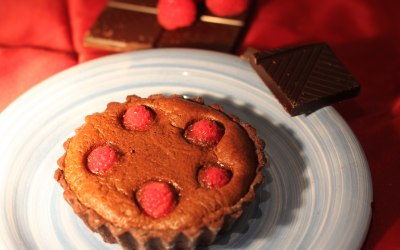 Rich chocolate and raspberry tartlet