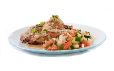 Grilled chicken thigh fillet marinated in Dijon mustard