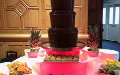 6 tier chocolate fountain hire with illuminated base