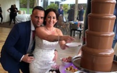 6 tier chocolate fountain makes a great centerpiece