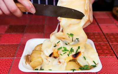 French Raclette cheese and roasted potatoes