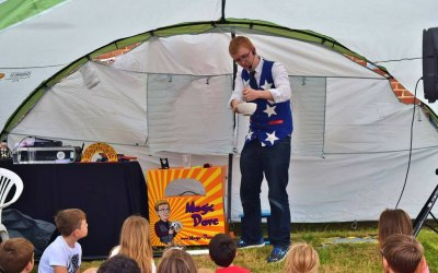 Performing magic at a charity fun day