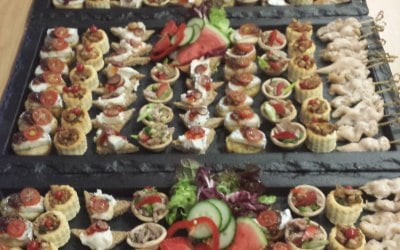 Canapes all ready to serve on a Cheshire society wedding