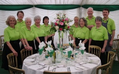 Waiting staff ready to serve the wedding party in Greater Manchester