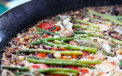 Wild mushroom, asparagus and hazelnut paella
