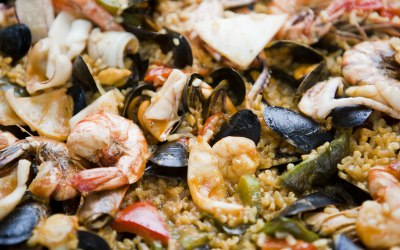 Monk fish, mussels, squid and prawn paella