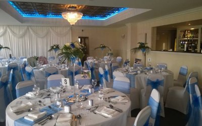 Royal blue and white theme wedding