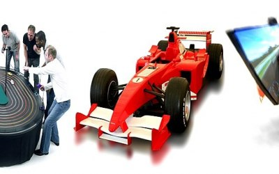 Giant Scalextric, Formula 1 Racing Cars, Laser Shooting Games