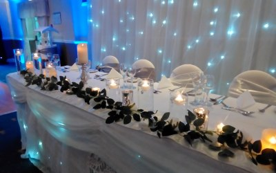 Top table decoration and backdrop
