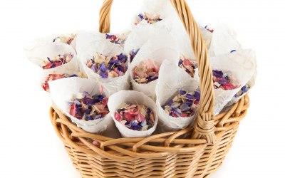 Delphinium Petals Confetti Cone Basket