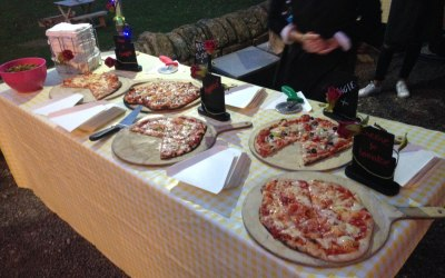 Pizzas served buffet style hot and fresh